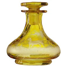 c.1910 Bohemian amber flashed & engraved glass scent perfume bottle