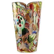 c.1950s 60s AVeM Tutti Frutti zanfirico millefiori glass vase