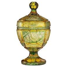 c.1910 Steinschönau Bohemian glass goblet vase & cover