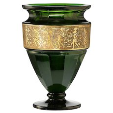c.1920 Moser emerald facet cut crystal vase with oroplastic frieze