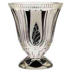 c.1930s Karl Palda engraved and enamelled crystal vase