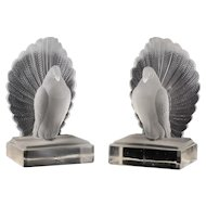 c.1930s pair of frosted glass Art Deco bird bookends