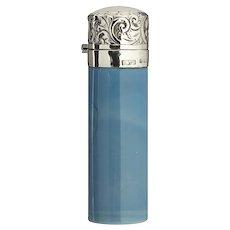 1906 Blue Opaline Scent Perfume Bottle, Sterling Silver Top