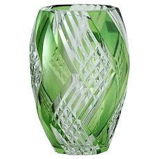 1960s-70s Val St. Lambert limited edition lime green overlay crystal vase