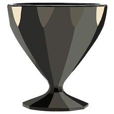 c.1930s rare Val St. Lambert hyalith black facet crystal vase