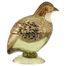 c.1900 Bohemian enamelled glass grouse game bird bowl & cover, probably Fritz Heckert