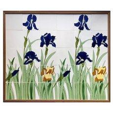 c.1900 Sarreguemines Utzschneider France, thirty tile Art Nouveau iris panel, framed