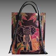 Vintage Boho colorful leather elephant small tote handbag India