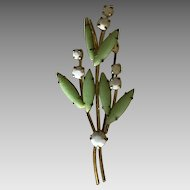 Austrian green and white milk glass floral pin brooch