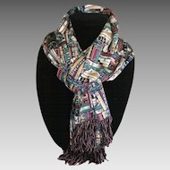 Long silk fringed scarf with library theme