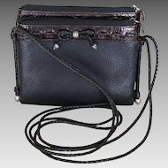 Vintage crossbody compact dual wallet handbag purse