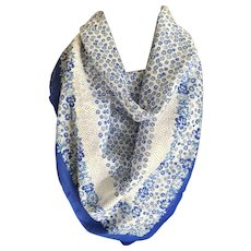 Vintage batiste cotton blue and white flower print scarf