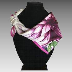 Vintage Talbots Silk Satin Flower Motif Scarf