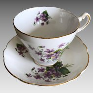 Vintage Regency Bone China Violet Tea Cup and Saucer