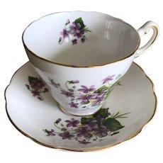 Vintage Regency Bone China Violet Tea Cup and Saucer