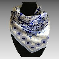 Blue and White Pure Silk Scarf