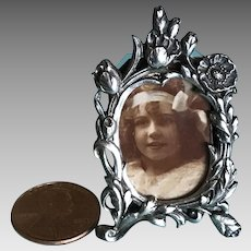 Vintage dollhouse miniature silverplate picture frame