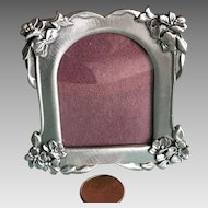 Vintage mini pewter picture frame poinsettias and holly