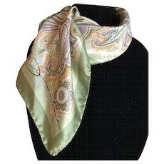 Vintage silk satin scarf made in Italy by Jainine