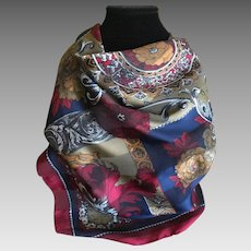 Vintage Italian made polyester scarf in winter colors
