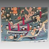 Vintage Chinese Silk Embroidered  Panel featuring children at play