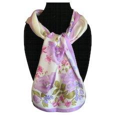 Vintage silk satin Oscar de la Renta scarf sweet peas and spring flowers