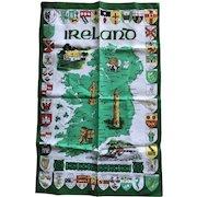 Mid century Irish Linen towel with map of Ireland
