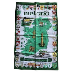 Mid century Irish Linen towel with map of Ireland