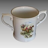 Vintage rare Royal Worcester Bone China Cider Cup with Hunting Scene