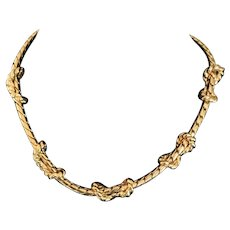 Vintage Anne Klein love knot gold plate necklace