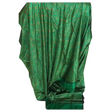 Vintage silk sewing fabric emerald green patterned