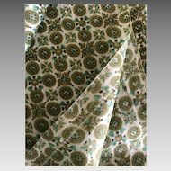 Vintage silk sewing fabric in shades of greens and teal