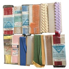Vintage packages of sewing trims and seam bindings