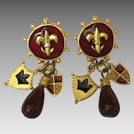 Vintage Fleur de Lis pierced earrings