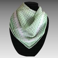 Vintage Vera silk blend green and white scarf