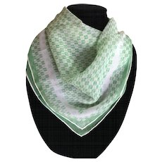 Vintage Vera silk blend green and white scarf