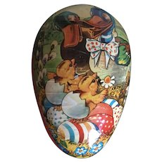 Vintage German Easter egg shaped candy container ducks and chicks
