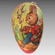 Vintage German Easter egg shaped candy container bunny with egg baskets