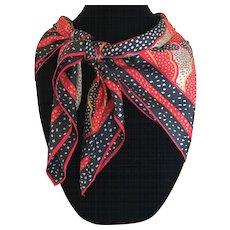 Vintage Silk scarf in black and red Japan