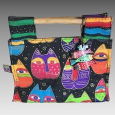 Vintage petite Laurel Burch canvas cat purse handbag tote