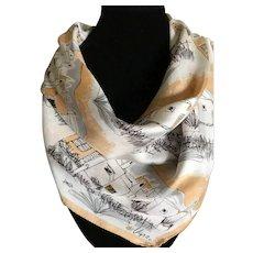 Vera Neumann Mid Century Modern adobe village Southwestern silk scarf