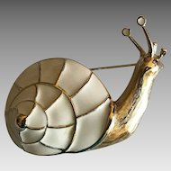 Vintage Trifari cream enamel snail brooch pin