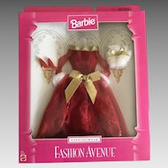 Vintage Barbie red off shoulder evening gown, purse, shoes in original package