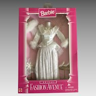 Vintage Barbie winter wedding ensemble dress, veil, shoes, snowflake bouquet in original box