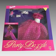 Vintage Barbie Party Dazzle evening gown, tiara, clutch, and shoes in original box