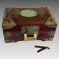 Vintage Chinese rosewood jewelry box carved jade inlay lock and key