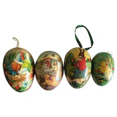 Four paper mache Easter eggs made in Germany