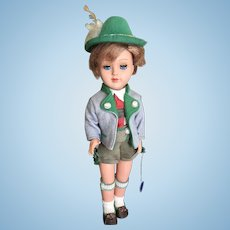 Vintage Gura tagged doll boy in Alpine lederhosen attire