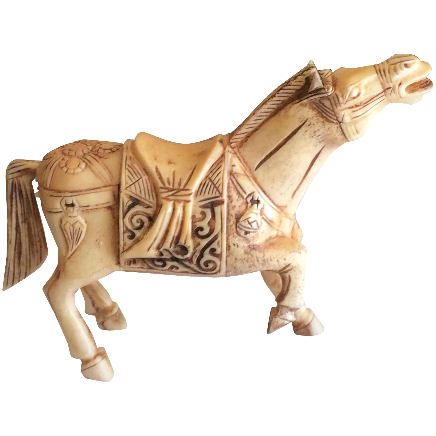 Vintage Asian Chinese Bone Hand Carved Horse Basingers Vintage Collectibles And Fashions Ruby Lane