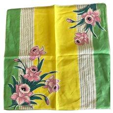 Vintage Cotton Daffodil Handkerchief Hankie